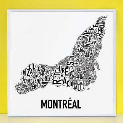 "Framed Montreal Neighbourhoods Map Poster, White & Black, 24"" x 24"" in Silver Frame"