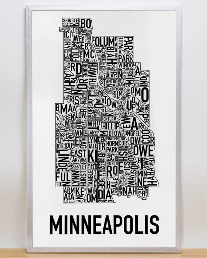 """Framed Minneapolis Neighborhood Map Poster, Classic B&W, 16"""" x 26"""" in Silver Frame"""