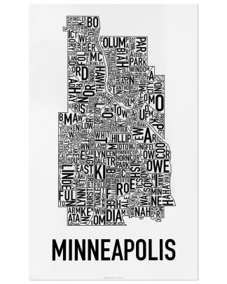 "Minneapolis Neighborhood Map Poster, Classic B&W, 16"" x 26"""