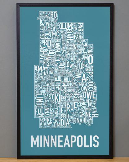 """Framed Minneapolis Neighborhood Map Poster, Teal & White, 16"""" x 26"""" in Black Frame"""
