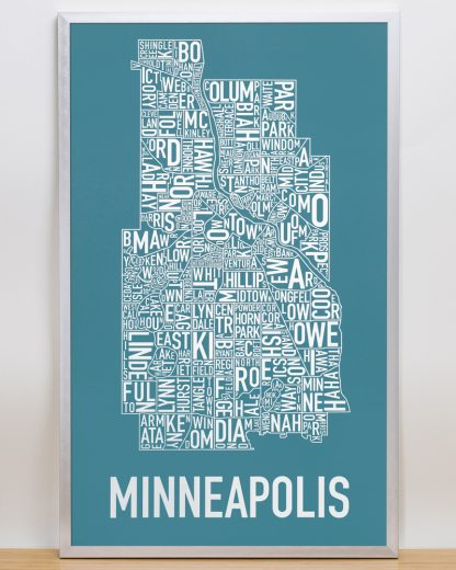 "Framed Minneapolis Neighborhood Map Poster, Teal & White, 16"" x 26"" in Silver Frame"