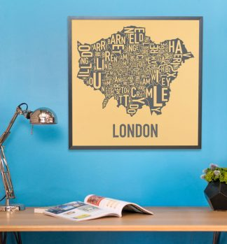 London Boroughs Typographic Map Poster