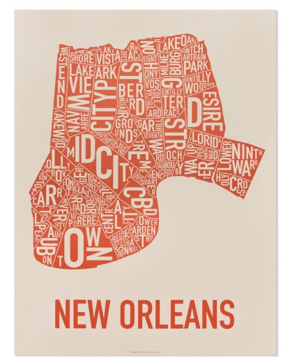 "New Orleans Neighborhood Map, Off-White & Orange, 18"" x 24"""