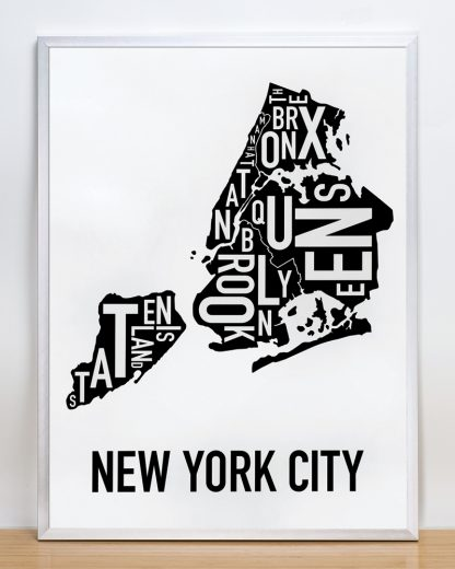 "Framed New York City Boroughs Map, Classic B&W, 18"" x 24"" in Silver Frame"