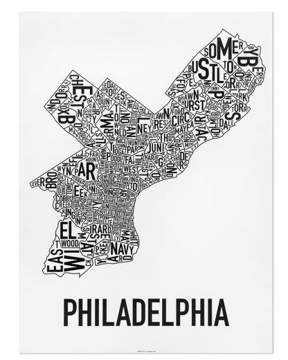 "Philadelphia Neighborhood Map Poster, Classic B&W, 18"" x 24"""