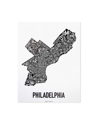 "Philadelphia Neighborhood Map Poster, Classic B&W, 11"" x 14"""
