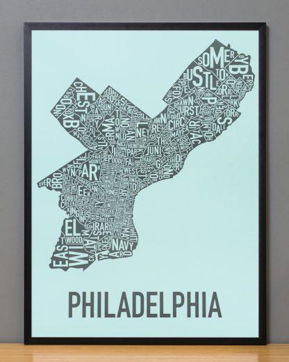 """Framed Philadelphia Neighborhood Map Poster, Light Blue & Grey, 18"""" x 24"""" in Black Frame"""