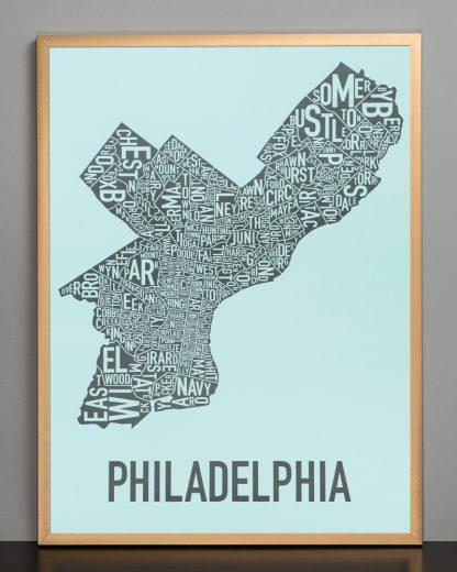 """Framed Philadelphia Neighborhood Map Poster, Light Blue & Grey, 18"""" x 24"""" in Bronze Frame"""