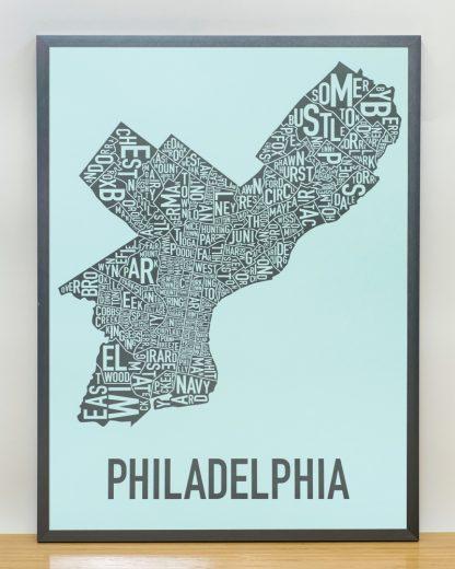 """Framed Philadelphia Neighborhood Map Poster, Light Blue & Grey, 18"""" x 24"""" in Steel Grey Frame"""