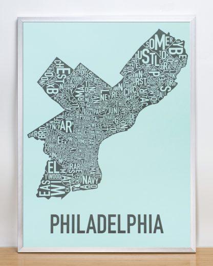 """Framed Philadelphia Neighborhood Map Poster, Light Blue & Grey, 18"""" x 24"""" in Silver Frame"""