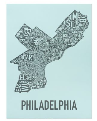 "Philadelphia Neighborhood Map Poster, Light Blue & Grey, 18"" x 24"""