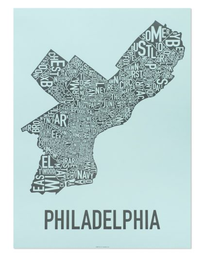 "Philadelphia Neighborhood Map Poster, Light Blue & Grey, 18"" x 24"""