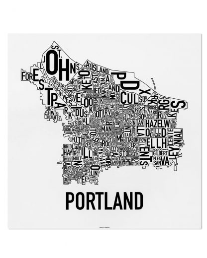 "Portland Neighborhood Map, Classic B&W Poster, 18"" x 18"""