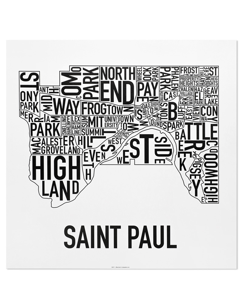 Saint paul neighborhood map 20″ x 20″ classic black white poster