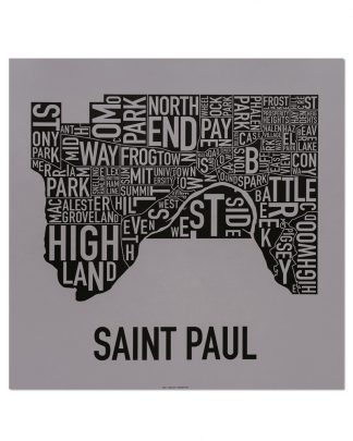 "St Paul Neighborhood Map Screenprint, Grey & Black, 20"" x 20"""