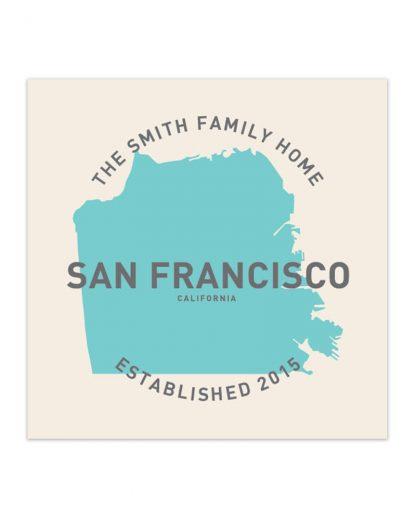 "Custom San Francisco Family Home Print, Ivory & Light Blue, 8"" x 8"""