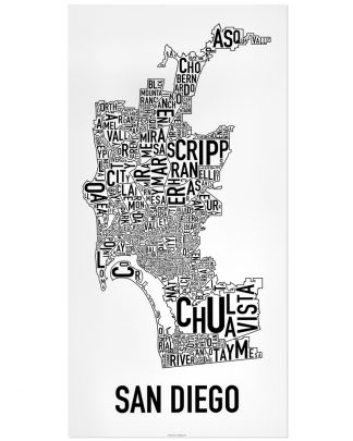 "San Diego Neighborhood Map Poster, Classic B&W, 16"" x 32"""