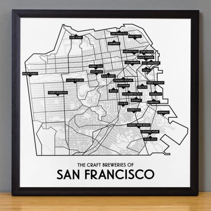 "Framed San Francisco Craft Breweries Map, 12.5"" x 12.5"", 2018 Edition in Black Frame"
