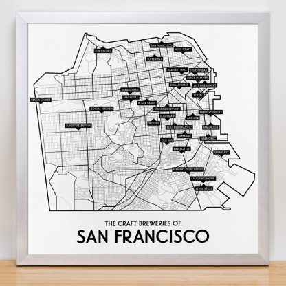"Framed San Francisco Craft Breweries Map, 12.5"" x 12.5"", 2018 Edition in Silver Frame"