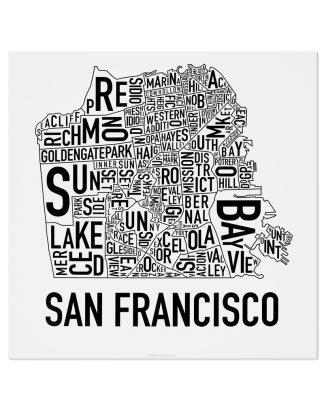 "San Francisco Neighborhood Map Poster, Classic B&W, 18"" x 18"""