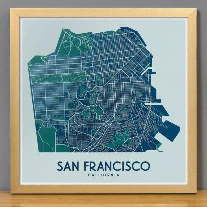 "Framed San Francisco Street Map, 12.5"" x 12.5"", Aqua/Teal/Green in Bronze Frame"