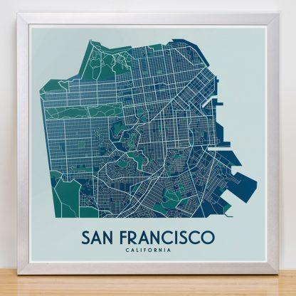 "Framed San Francisco Street Map, 12.5"" x 12.5"", Aqua/Teal/Green in Silver Frame"