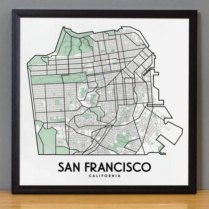 """Framed San Francisco Street Map, 12.5"""" x 12.5"""", White & Green in Black Frame"""