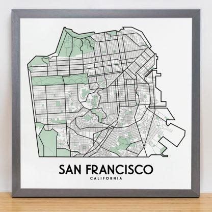 "Framed San Francisco Street Map, 12.5"" x 12.5"", White & Green in Steel Grey Frame"