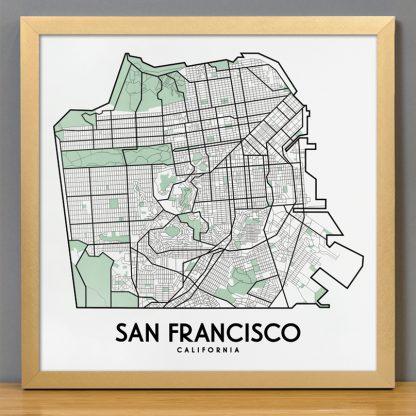 """Framed San Francisco Street Map, 12.5"""" x 12.5"""", White & Green in Bronze Frame"""