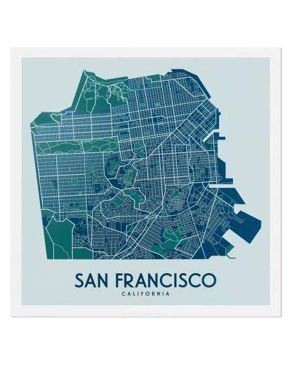 """San Francisco Street Map, 12.5"""" x 12.5"""", Aqua/Teal/Green"""