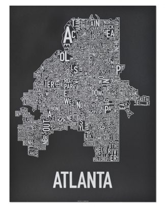 "Atlanta Neighborhood Map Screenprint, 18"" x 24"", Black & Silver"