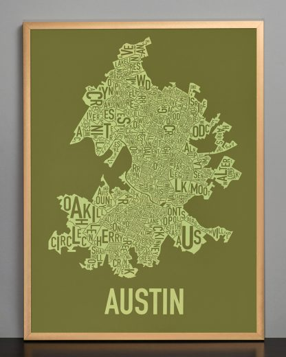 "Framed Austin Neighborhood Map Screenprint, 18"" x 24"", Green & Light Green in Bronze Frame"