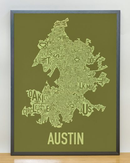 "Framed Austin Neighborhood Map Screenprint, 18"" x 24"", Green & Light Green in Steel Grey Frame"