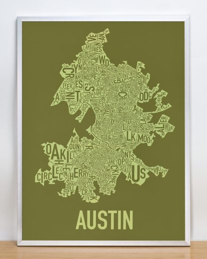 "Framed Austin Neighborhood Map Screenprint, 18"" x 24"", Green & Light Green in Silver Frame"