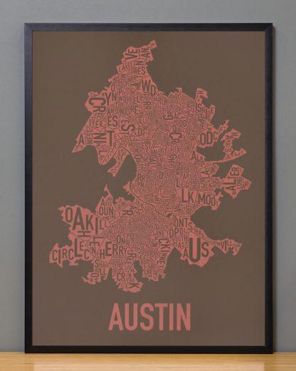 "Framed Austin Neighborhood Map Screenprint, 18"" x 24"", Brown & Peach in Black Frame"
