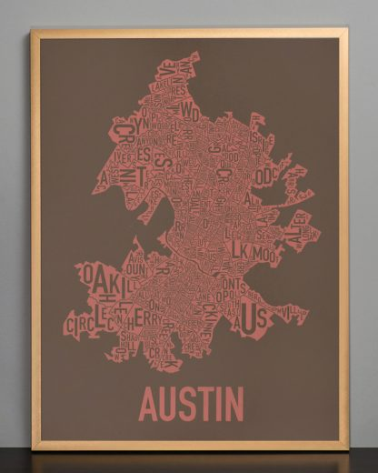 "Framed Austin Neighborhood Map Screenprint, 18"" x 24"", Brown & Peach in Bronze Frame"