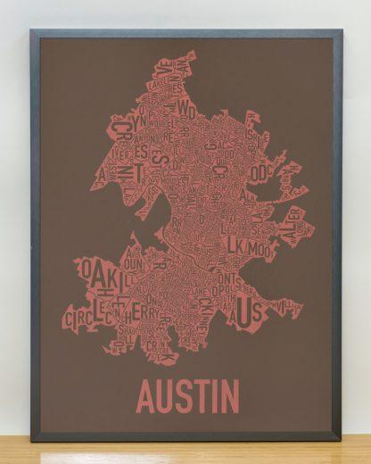 "Framed Austin Neighborhood Map Screenprint, 18"" x 24"", Brown & Peach in Steel Grey Frame"