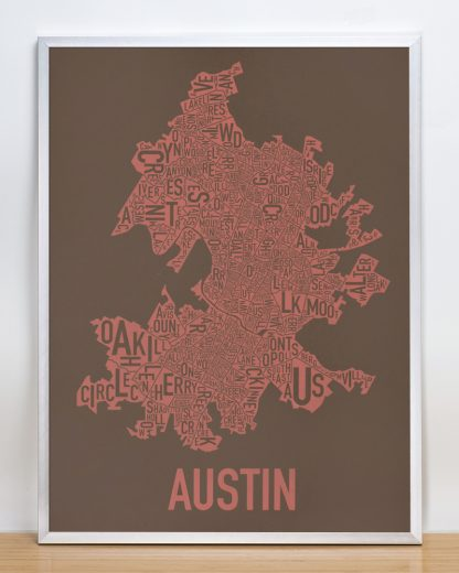 "Framed Austin Neighborhood Map Screenprint, 18"" x 24"", Brown & Peach in Silver Frame"