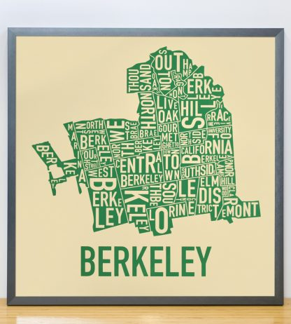 "Framed Berkeley Neighborhood Typography Map, Tan & Green, 18"" x 18"" in Steel Grey Frame"