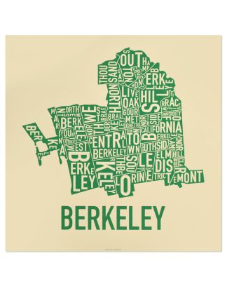 "Berkeley Neighborhood Typography Map, Tan & Green, 18"" x 18"""