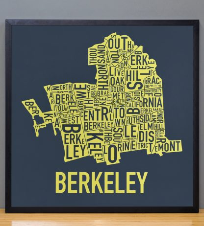 "Framed Berkeley Neighborhood Typography Map, Navy & Yellow, 18"" x 18"" in Black Frame"