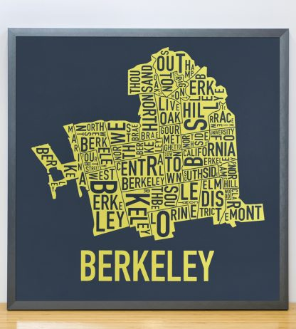 "Framed Berkeley Neighborhood Typography Map, Navy & Yellow, 18"" x 18"" in Grey Frame"