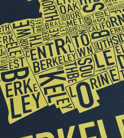 "Berkeley Neighborhood Typography Map, Navy & Yellow, 18"" x 18"""