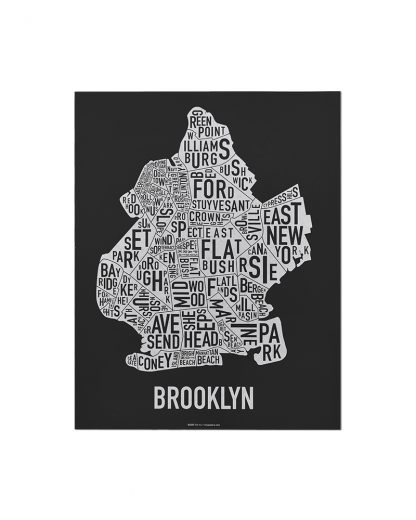 "Brooklyn Neighborhood Map Screenprint, Black & White, 11"" x 14"""