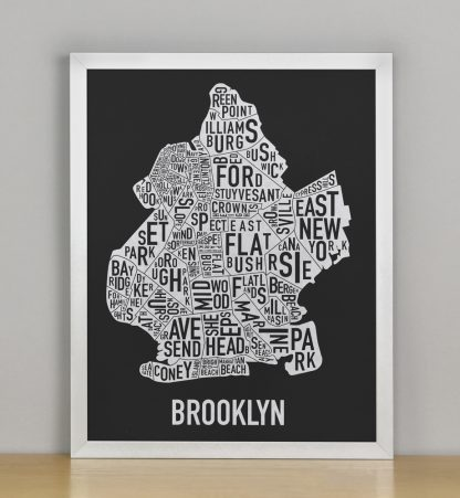 "Framed Brooklyn Neighborhood Map Screenprint, Black & White, 11"" x 14"" in Silver Frame"