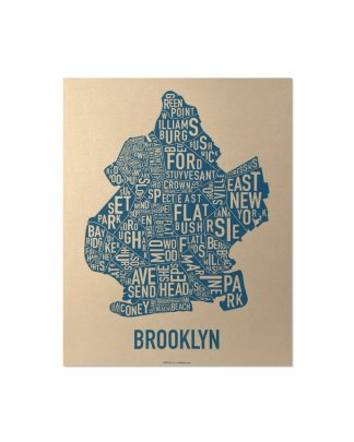 "Brooklyn Neighborhood Map, Gold & Blue Screenprint, 11"" x 14"""