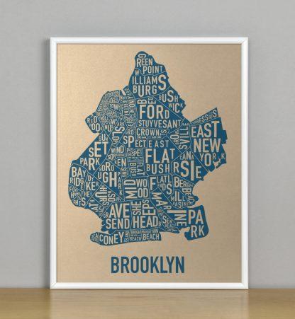 """Framed Brooklyn Neighborhood Map, Gold & Blue Screenprint, 11"""" x 14"""" in White Metal Frame"""