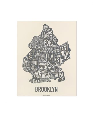 "Brooklyn Neighborhood Map Screenprint, Ivory & Grey, 11"" x 14"""