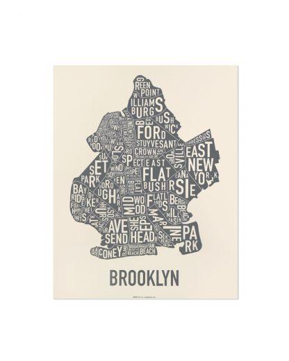"Brooklyn Neighborhood Map Screenprint, Ivory & Grey, 11"" x 14"""
