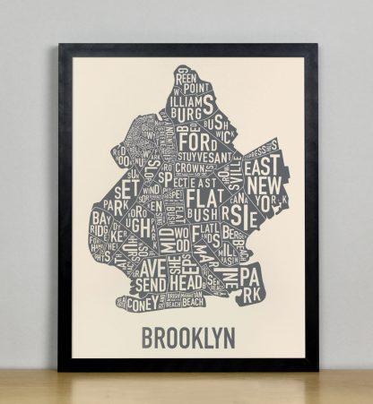 "Framed Brooklyn Neighborhood Map Screenprint, Ivory & Grey, 11"" x 14"" in Black Frame"
